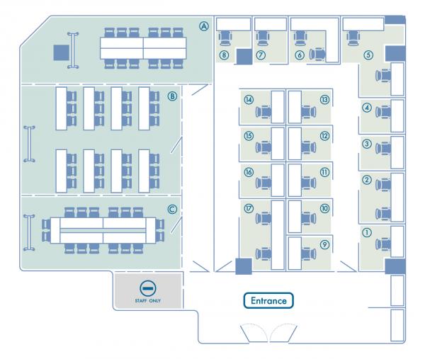 貸会議室6Fのフロアマップ