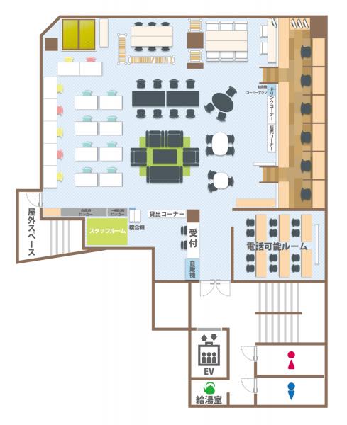 コワーキングスペース7Fのフロアマップ